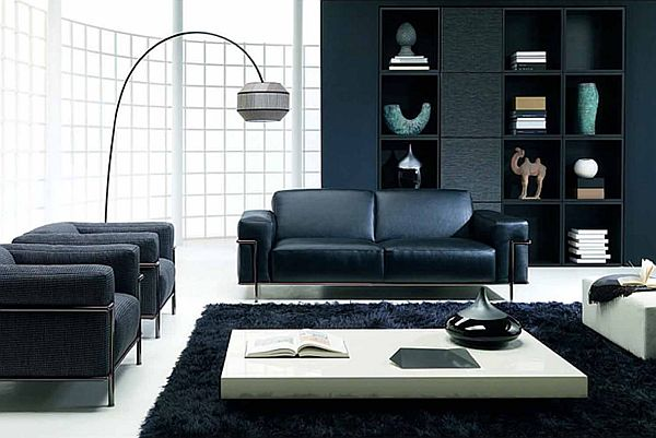 How to decorate a living room using black furnitu