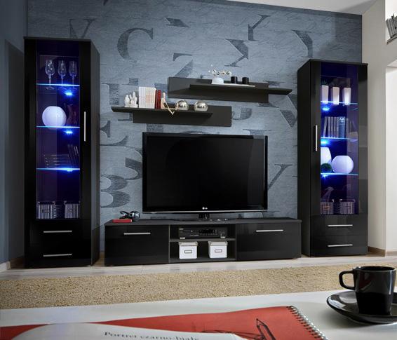 Telia 6 - black living room furniture / entertainment center .
