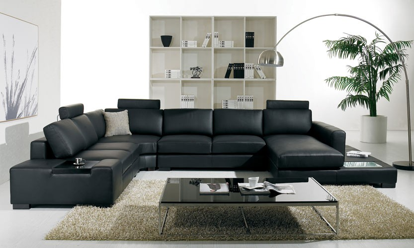 T35 Modern Black Leather Sectional Living Room Furnitu