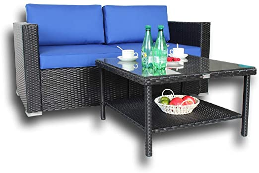 Amazon.com: Patio Garden Furniture Black Rattan Cushioned Sofa .