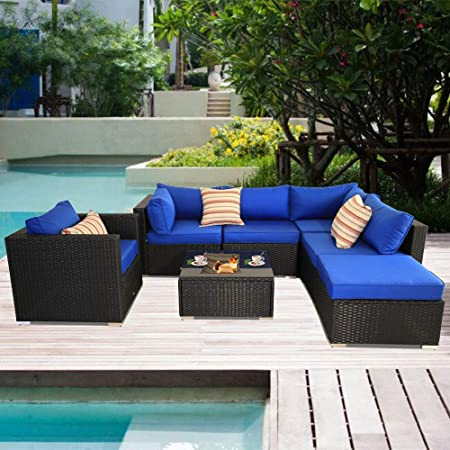 Amazon.com : Patio Sectional Sofa Outdoor Black Rattan Couch Set .