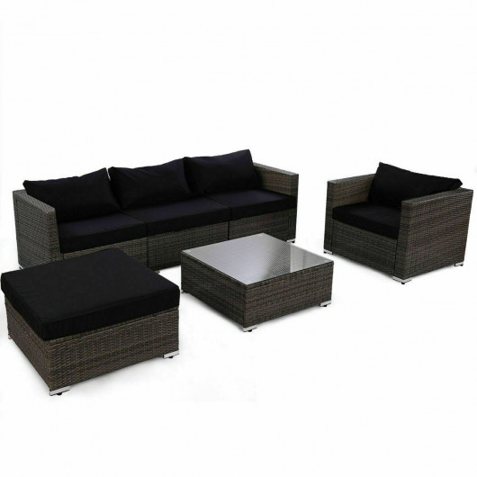 Rattan Wicker Patio Sofa Set with Black Cushion - Outdoor .
