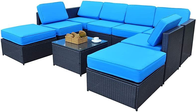 Amazon.com : Mcombo Patio Furniture Sectional Wicker Sofa Set All .