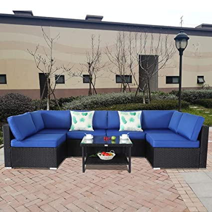 Amazon.com: Patio Furniture Black Rattan Sofa Wicker Sectional .