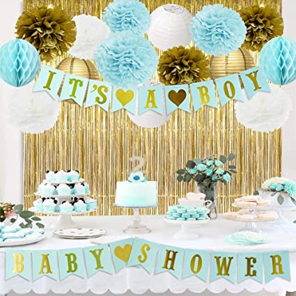 Amazon.com: Baby Shower Decorations for Boy Blue Baby Shower It's .