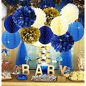 Amazon.com: Furuix Royal Prince Baby Shower Decorations Navy Cream .