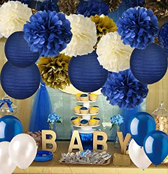 Amazon.com: Navy Blue Baby Shower Decorations-Navy Blue Cream Gold .