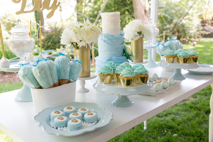 Kara's Party Ideas Blue & Gold Baby Shower | Kara's Party Ide