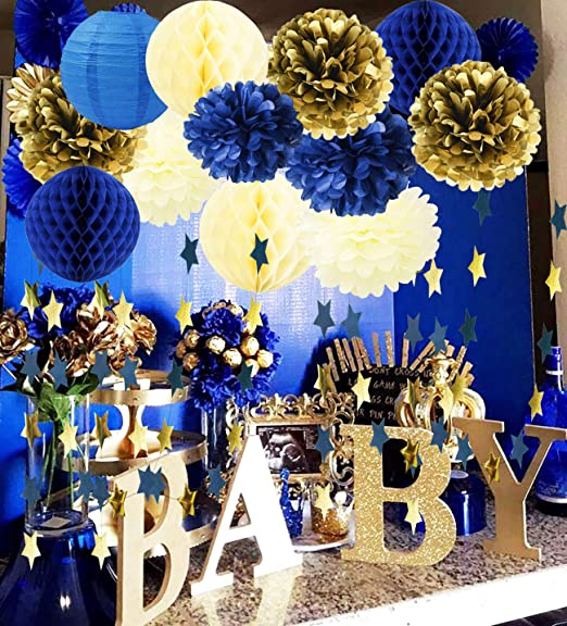 Amazon.com: Royal Prince Baby Shower Decorations Furuix Navy Cream .