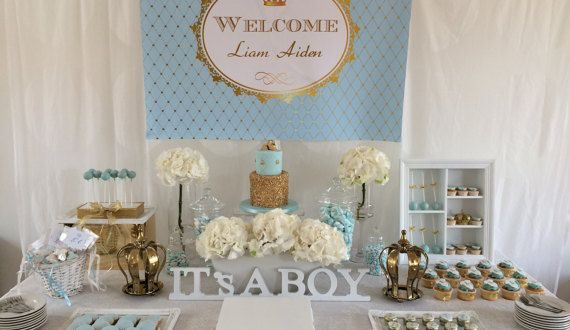 Light Blue and gold royal prince baby shower by StyleMeShabbyChic .