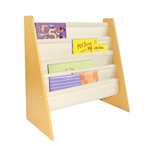 Pidoko Kids Sling Bookcase | Wooden Children's Bookshelf with .