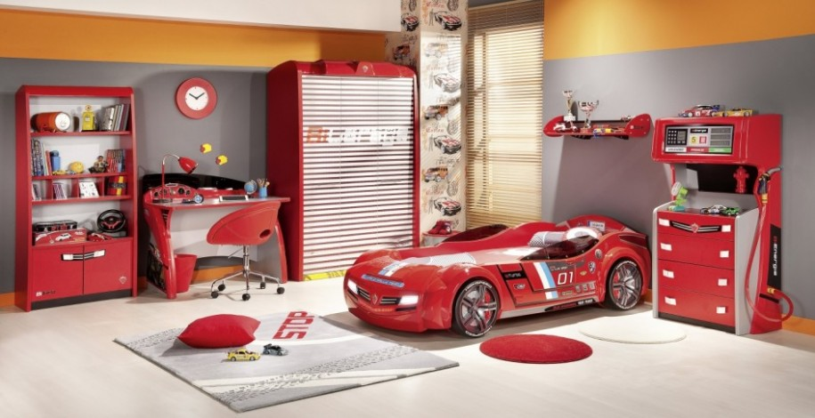 Bedroom Designs: Colorful Boy Bedroom Sets With Amazing Red .