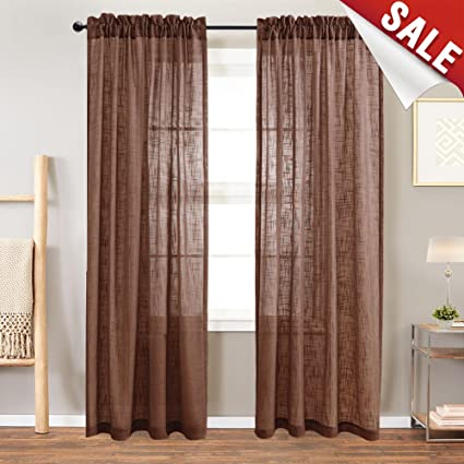 Amazon.com: Linen Look Sheer Window Curtains for Living Room Rod .