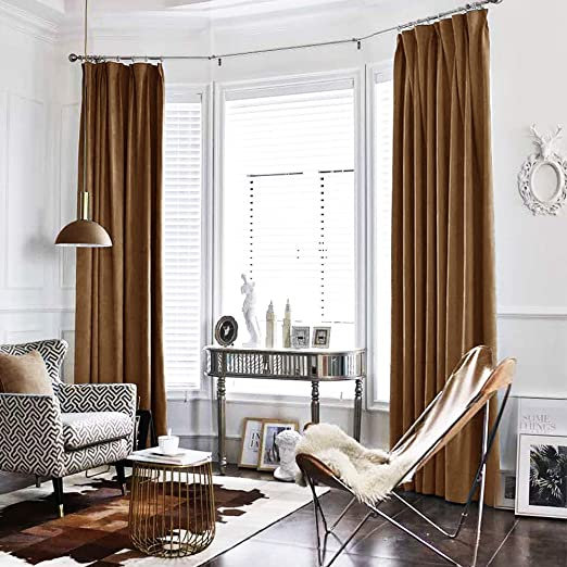 Amazon.com: jinchan Velvet Curtain Gold Brown Living Room Rod .