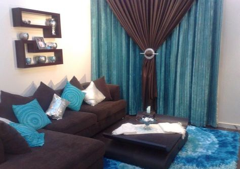 turquoise and brown curtains | Living room turquoise, Brown living .