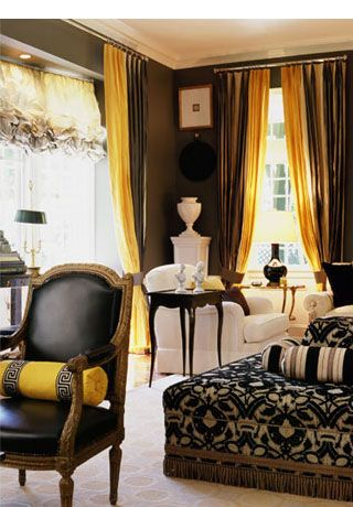 brown and gold (yellow) curtains - like the idea of double .