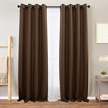 Amazon.com: Vangao Linen Textured Curtains Brown Blackout Curtain .