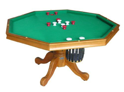 "3 in 1 Game Table - Octagon 54"" Bumper Pool, Poker & Dining in Oak ."