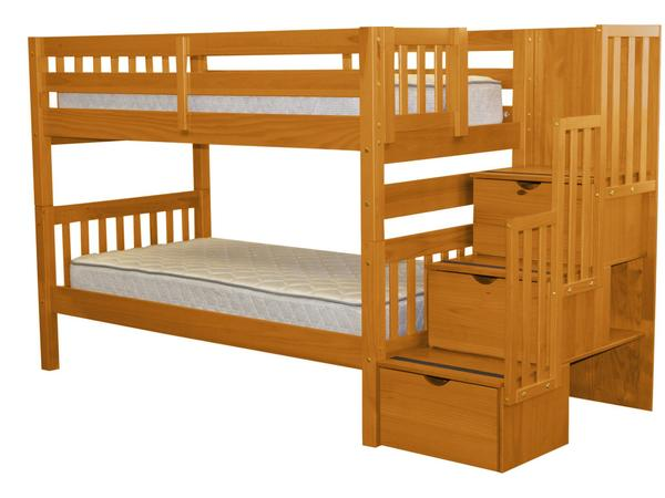 Bunk Beds Twin Stairway Honey $629 | Bunk Bed Ki