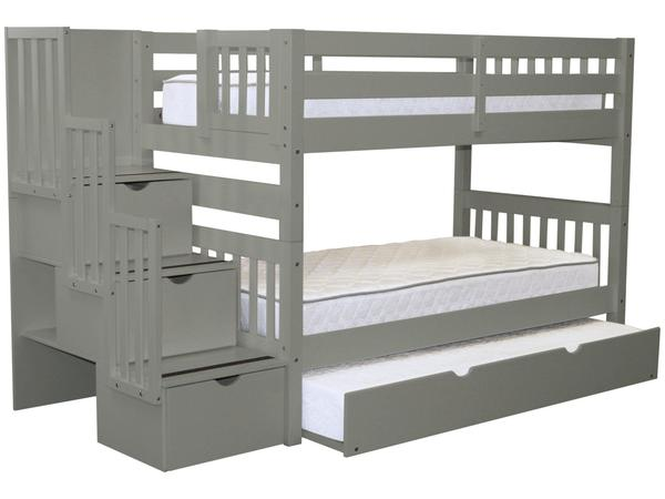 Bunk Beds Twin Stairway Gray | Twin Trundle $8