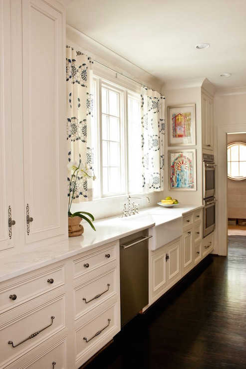 Kitchen with Cafe Curtains - Transitional - Kitchen - Cantley and .