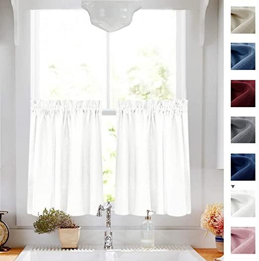 Amazon.com: White Tier Curtains Semi Sheer Short Curtains Kitchen .