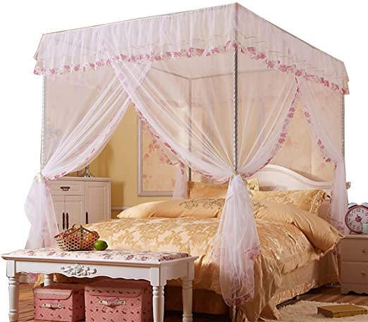 Amazon.com: JQWUPUP Mosquito Net for Bed - 4 Corner Canopy for .