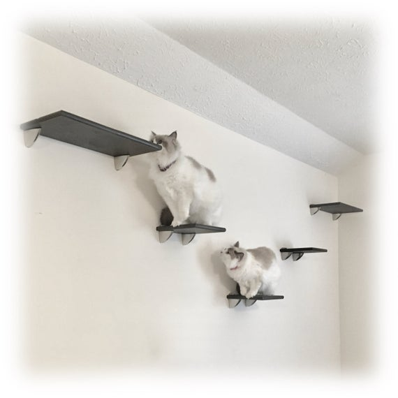 5pc Contempo Cat Tree Wall Tower 2 Cat Shelves & 3 Cat Steps | Et