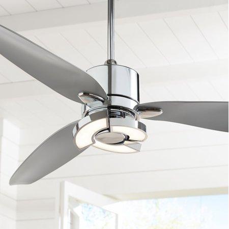 "56"" Possini Euro Design Modern Ceiling Fan with Light LED Remote ."