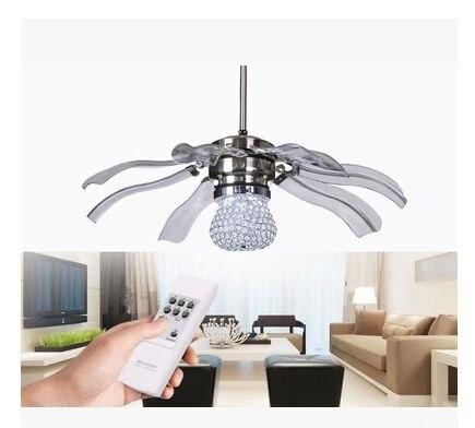 New 42inch k9 crystal LED Fan lights ceiling fan modern minimalist .