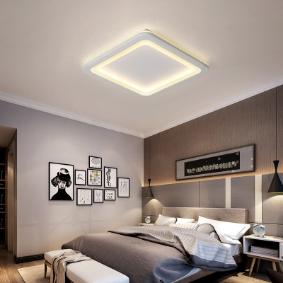 Metal Rounded Square Ceiling Flush Modern Simple LED Bedroom .