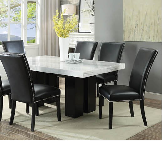 Cam White Marble Dining Room Set with 4 Black Chairs | Nader's .