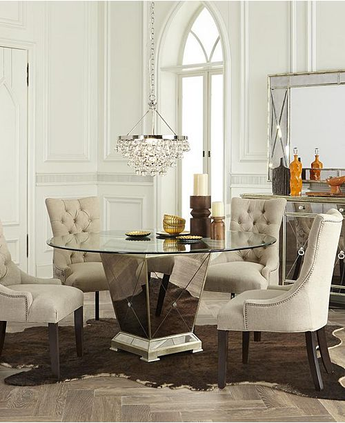 "Furniture Marais Dining Room Furniture, 5 Piece Set (54"" Mirrored ."