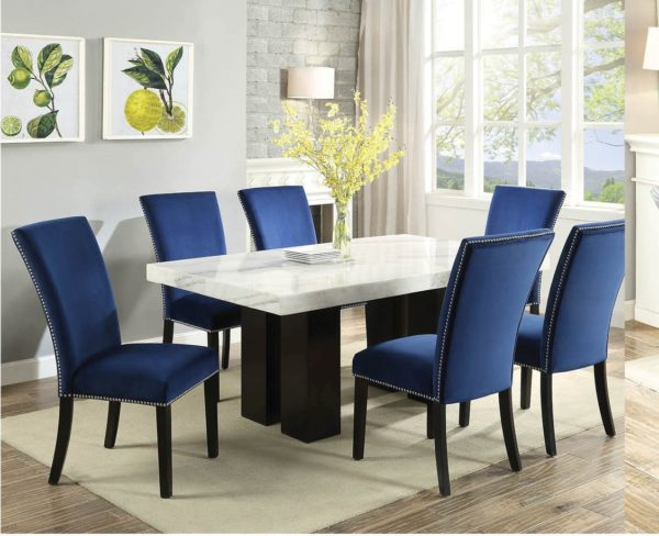 Cam White Marble Dining Room Set with 6 Blue Chairs | Nader's .