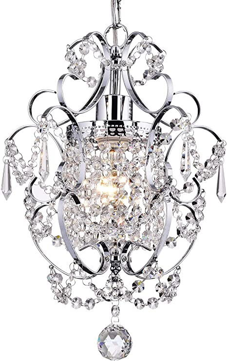 Amazon.com: Crystal Mini Chandelier Lighting 1 Light Chrome .