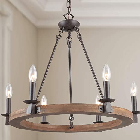 LNC A03300 Farmhouse Chandeliers for Dining Rooms, Vintage Wood .