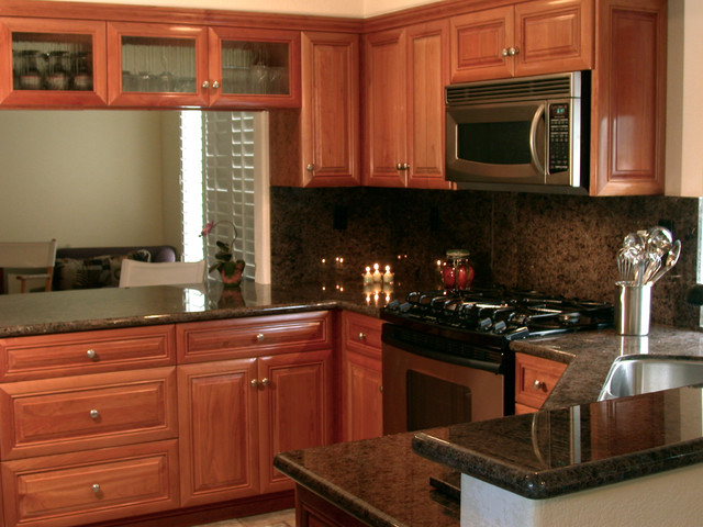 Natural Cherry Wood Kitchen Cabinetry - Traditional - Kitchen .