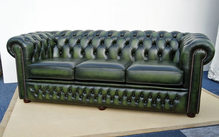 3.5 seat Chesterfield sofa antique green leather N