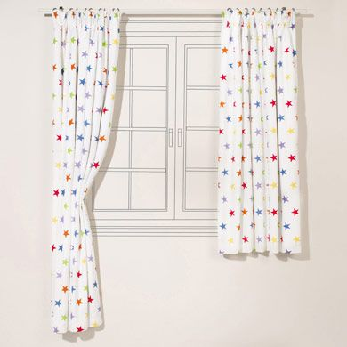 Children's Blackout Curtains - Rainbow Stardust, W135 x L137 cm .