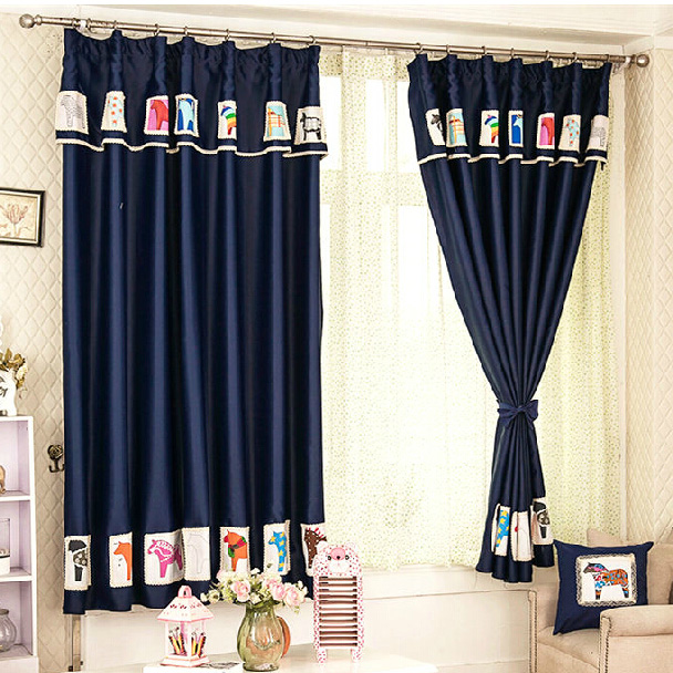 Lovely Horse Patterned Dark Blue Blackout Kids Curtai