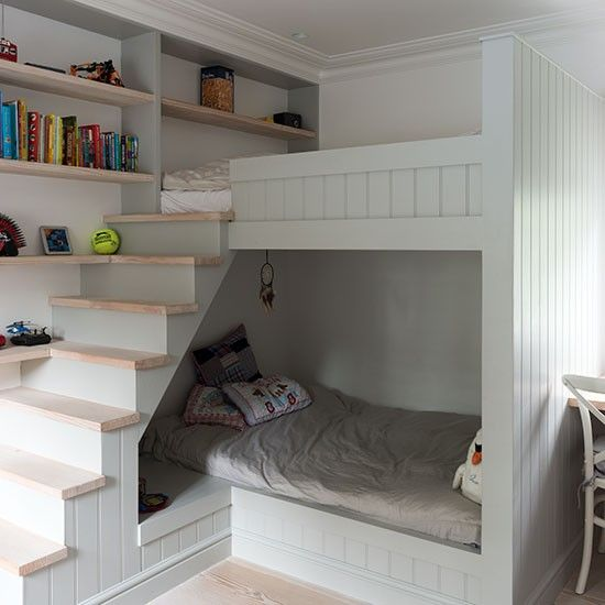 Children's room with built-in bunk beds | Bunk beds, Small rooms .