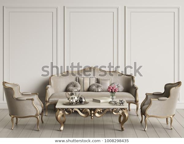 Interior Classic Furniture Mockup 3d Rendering Stock Illustration .