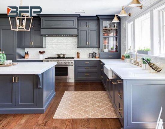 China PVC Vinyl Dark Grey Matt Classic Kitchen Cabinet with Island .