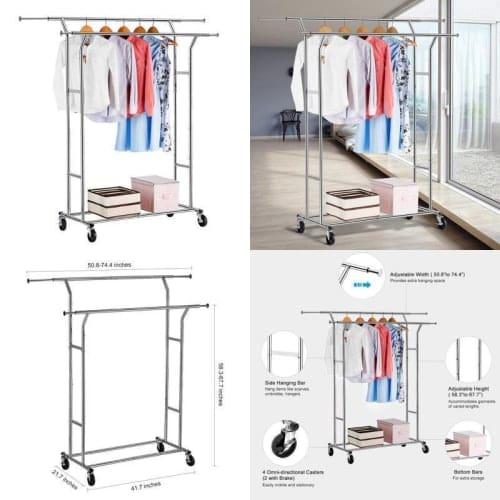 Langria Double Rail Garment Racks Clothes Racks Commercial Grade .