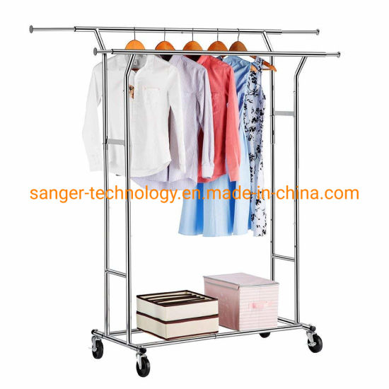 China Double Rail Garment Racks Clothes Racks Commercial Grade .