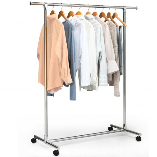Clothing Rack Stainless Steel Heavy Duty Hanging Rail with Wheels .