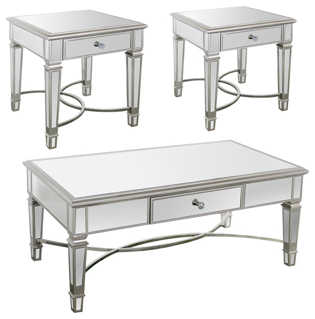 Mischa Mirrored 3-Piece Coffee Table and End Table Set, Silver .