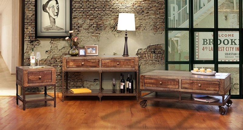 IFD Furniture | 560 Urban Gold Rustic Coffee Table Set | Dallas .
