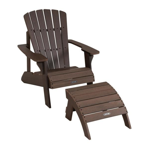 Lifetime Composite Rustic Brown Adirondack Chair and Ottoman Set .
