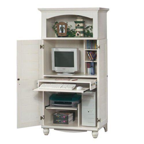 Amazon.com - Antique White Shutter Door Computer Desk Armoire .